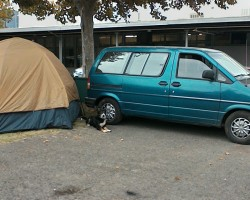 Another photo of the Van, this was at the Fire Evacuation Center in Calistoga.We (you can see my best bud guarding the van and the tent) were there about 3 weeks before we could get back into the Middletown area.